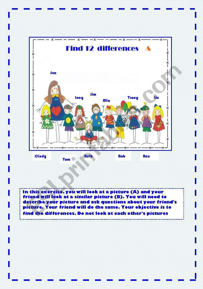FIND 12  DIFFERENCES worksheet