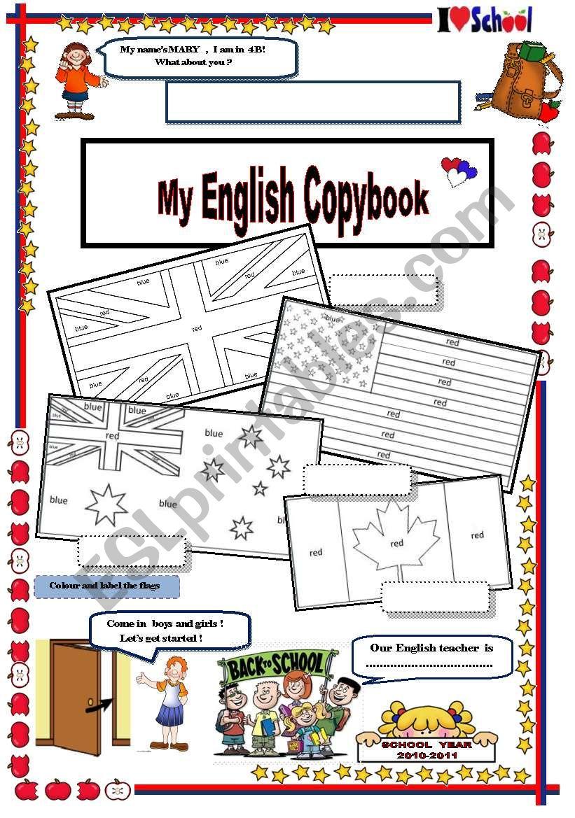 copybook cover with TASKS worksheet