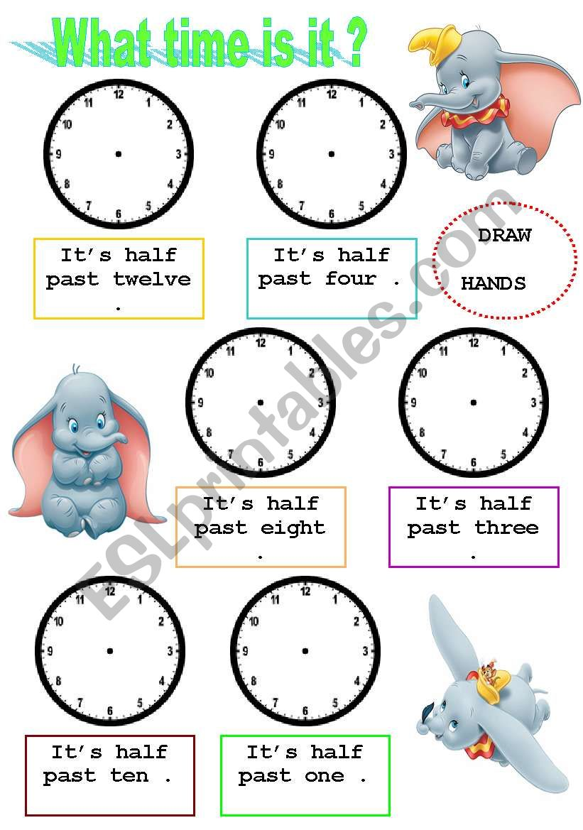 What time is it ?(draw the hands exercise )