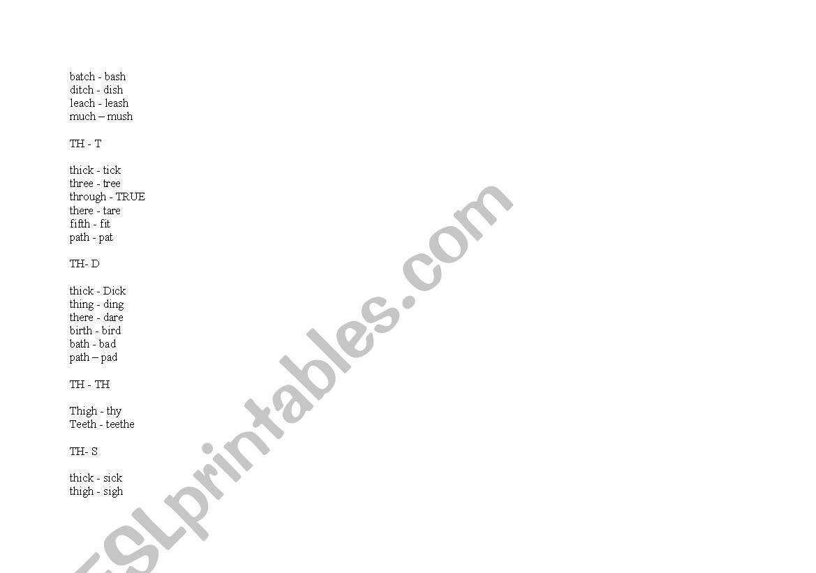 English Worksheets Minimal Pairs Pronunciation Practice Bat Vat Ect