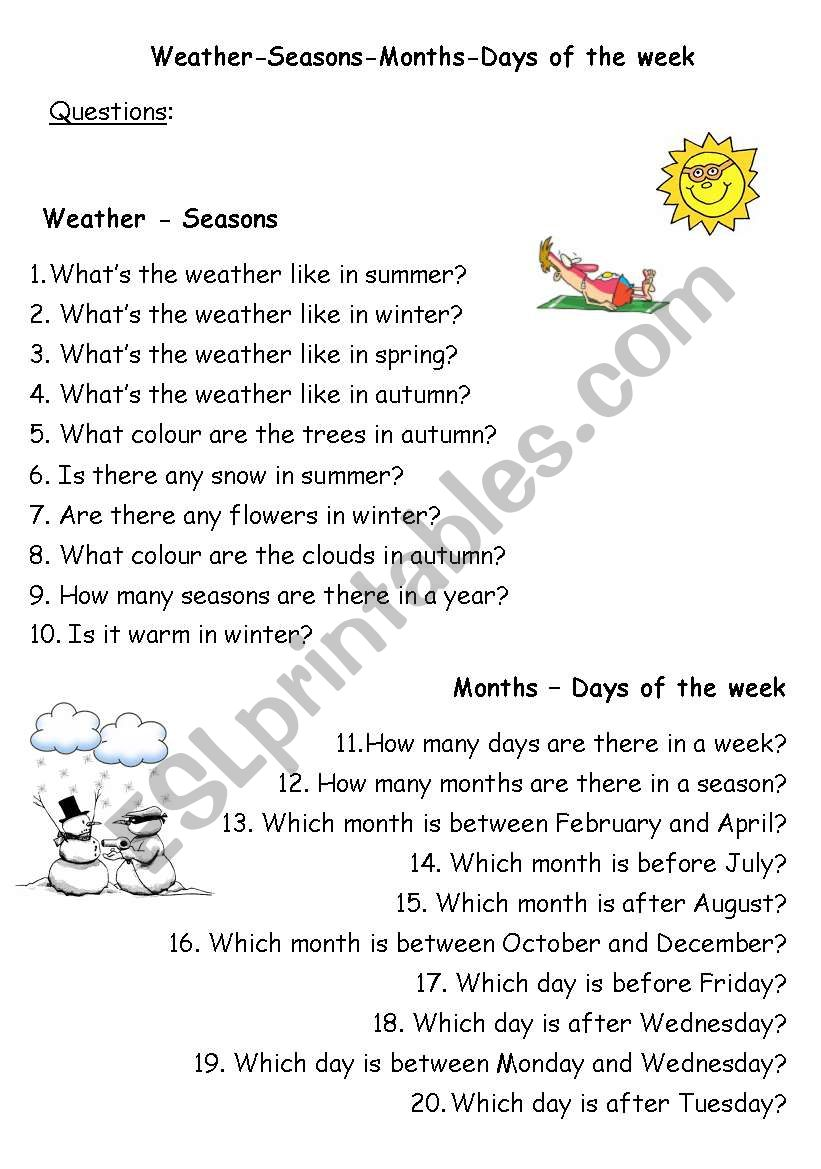 weather seasons months days of the week questions esl worksheet by evaggelia23. Black Bedroom Furniture Sets. Home Design Ideas