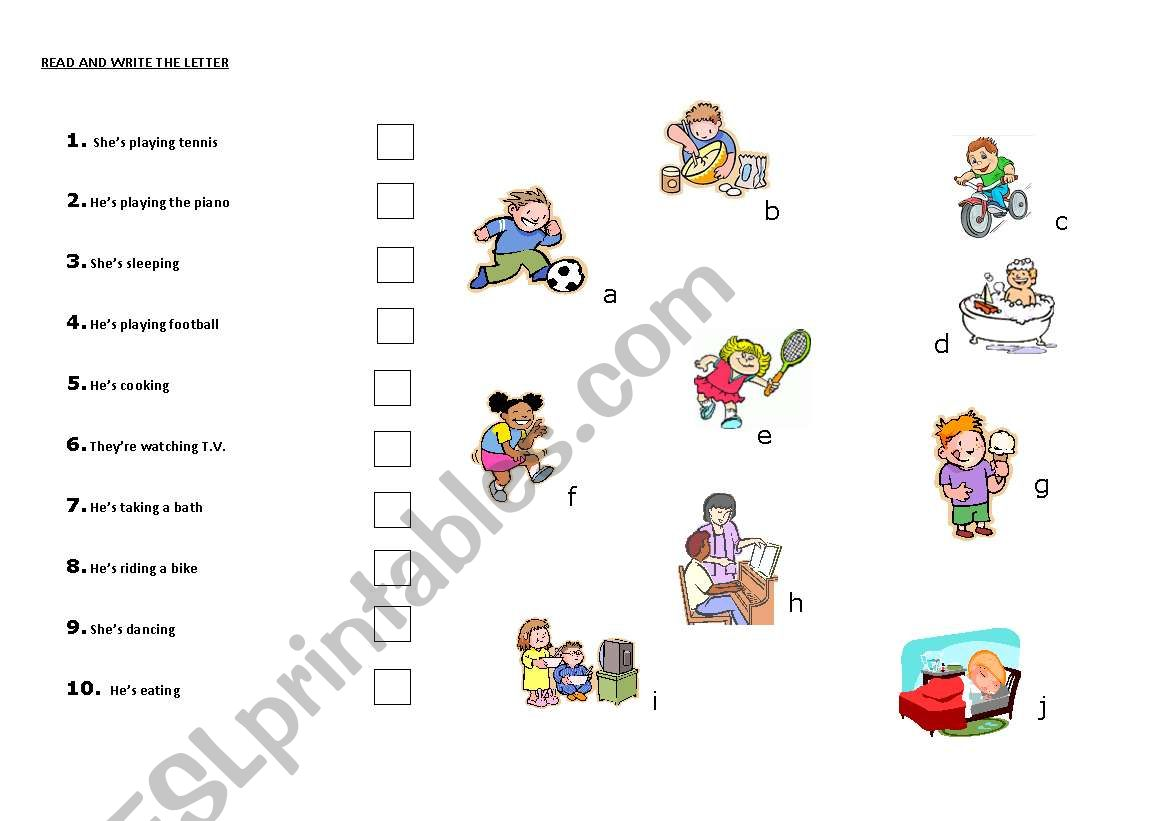 READ AND WRITE THE LETTER worksheet