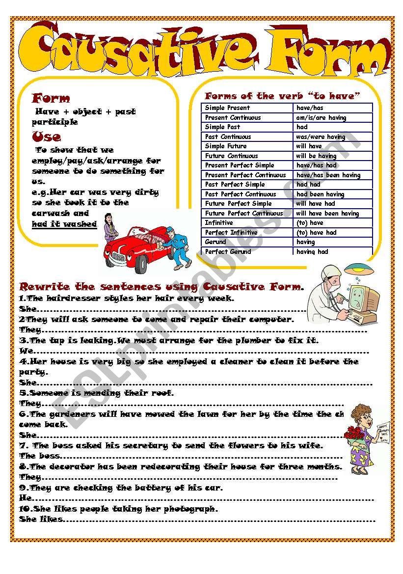 Causative Form worksheet