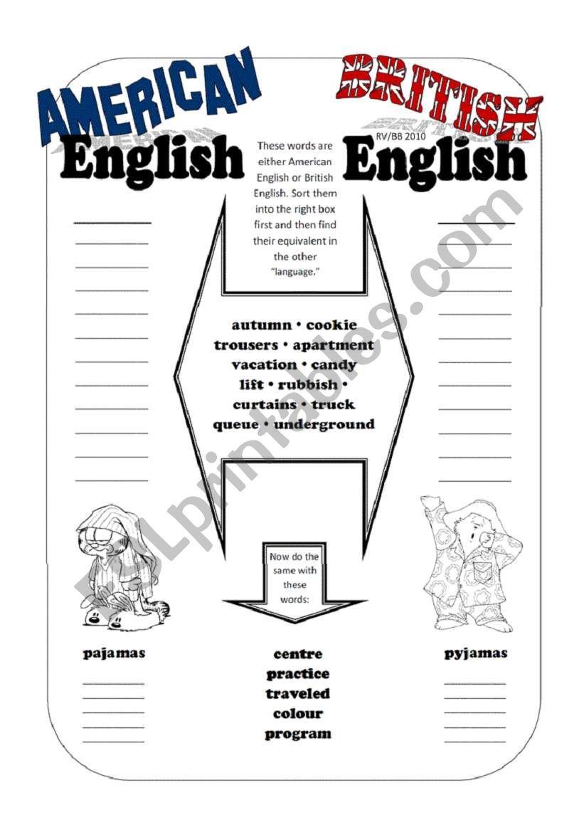 TEST - American English / British English (Vocabulary & Spelling)