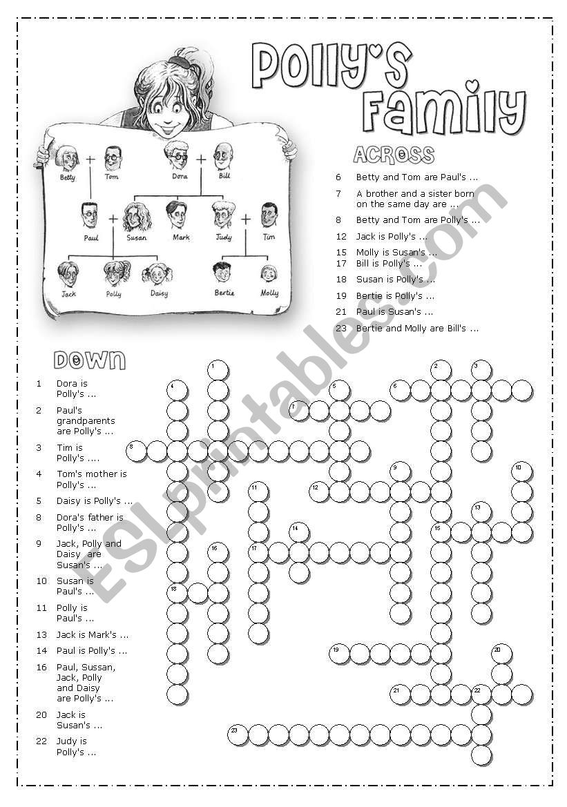 Family crosswords worksheet