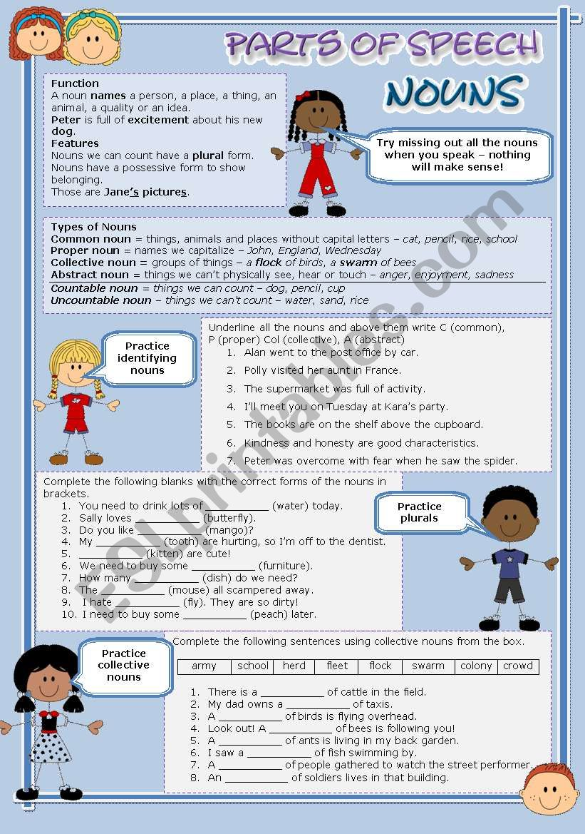 Parts of speech (2) - Nouns (fully editable)
