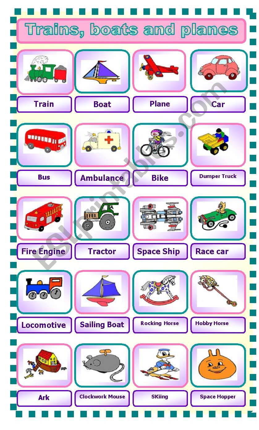 Trains, Boats and Planes worksheet