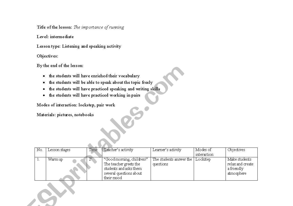 English worksheets: Integrated Skills Lesson Plan - The