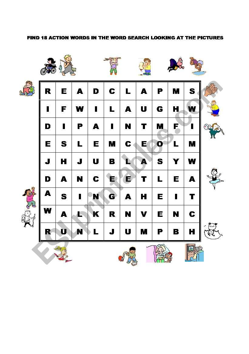 ACTIONS WORDSEARCH worksheet