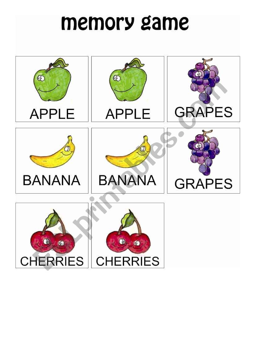 Fruits Memory Game 1 worksheet