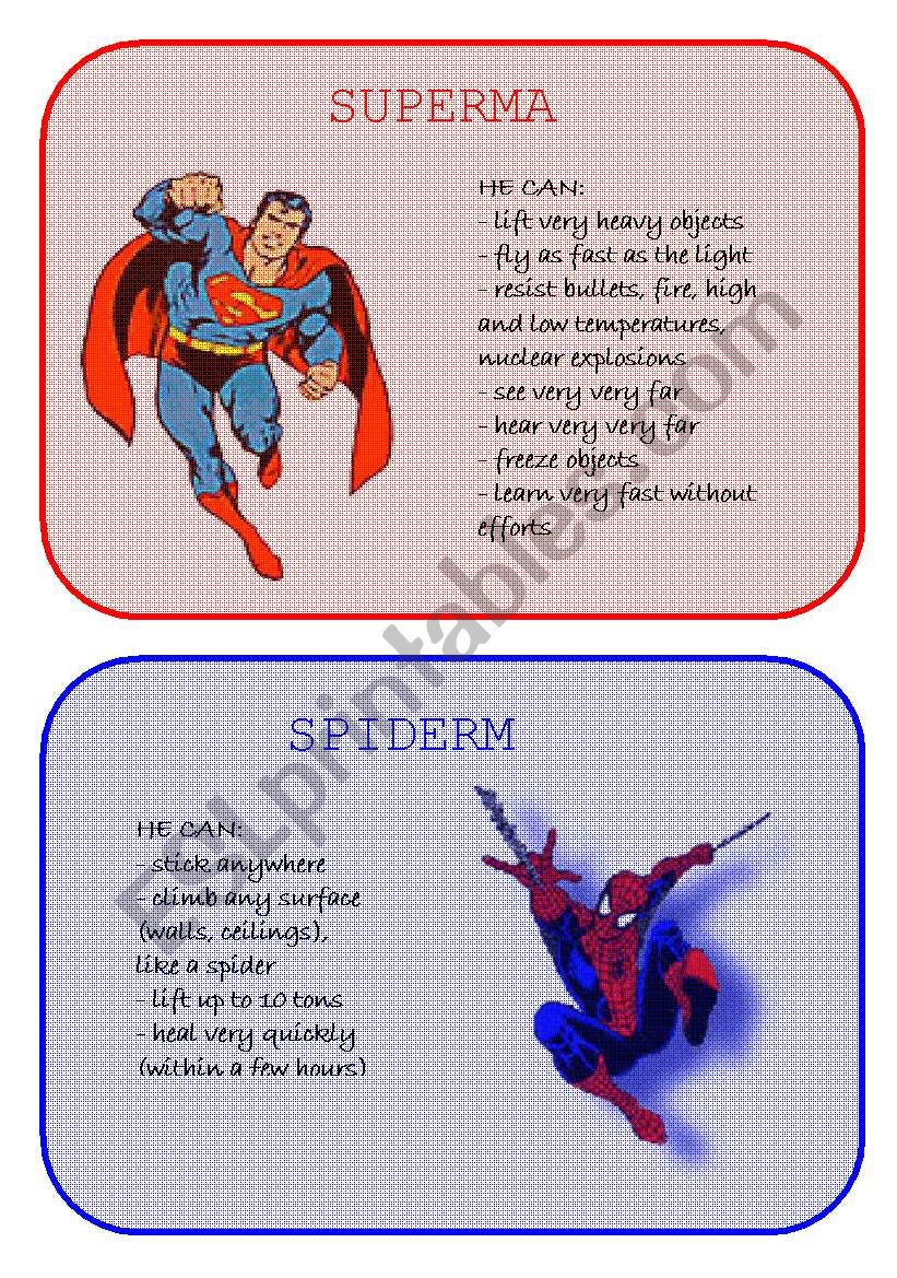 Superheroes Superpowers worksheet