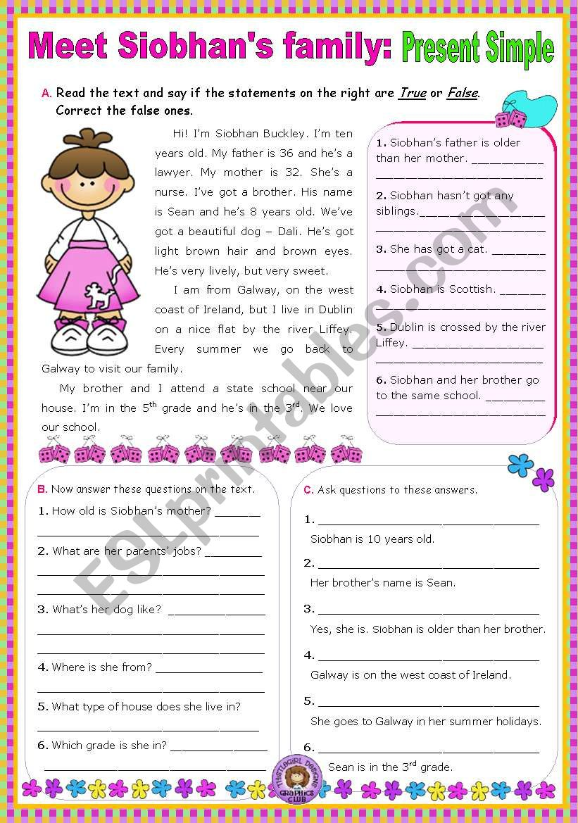 - Meet Siobhan´s Family (Simple Present) - Reading Comprehension