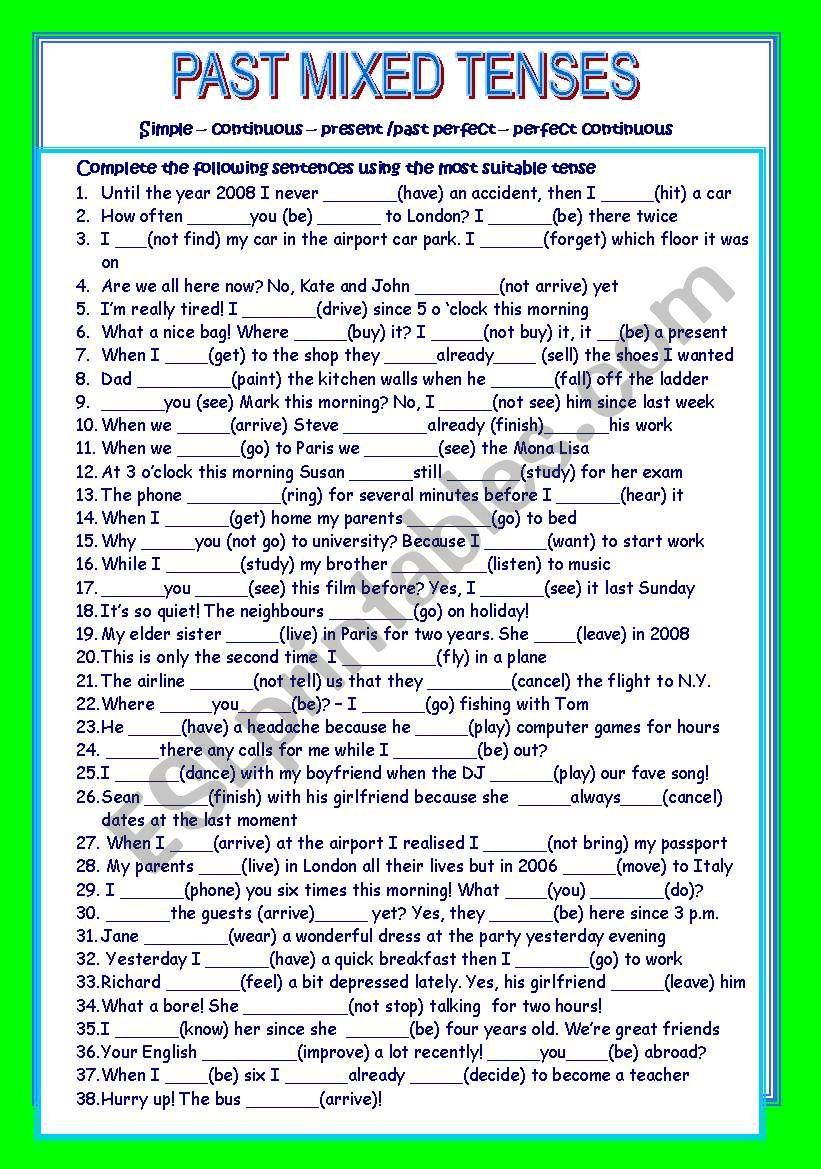 PAST MIXED TENSES worksheet
