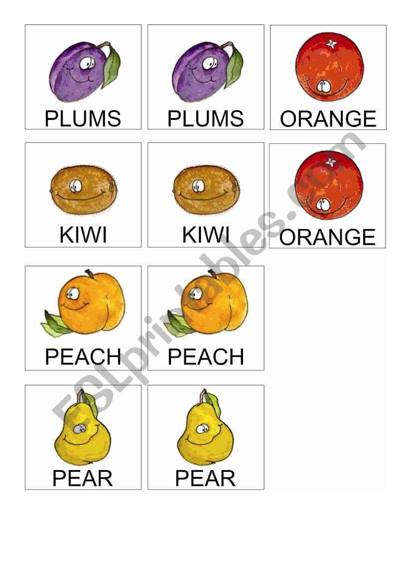 Fruits Memory Game 2 worksheet