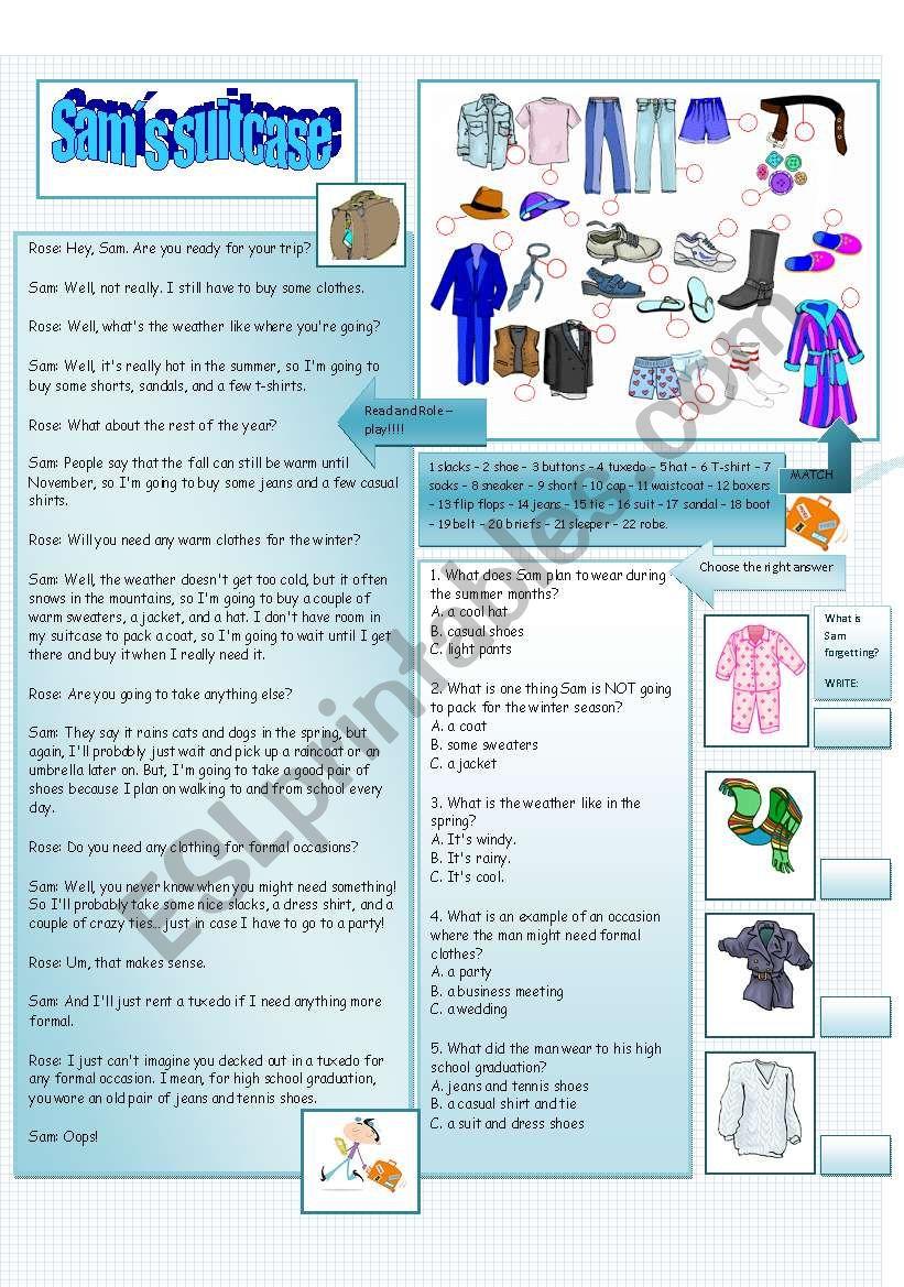 Sam´s suitcase worksheet