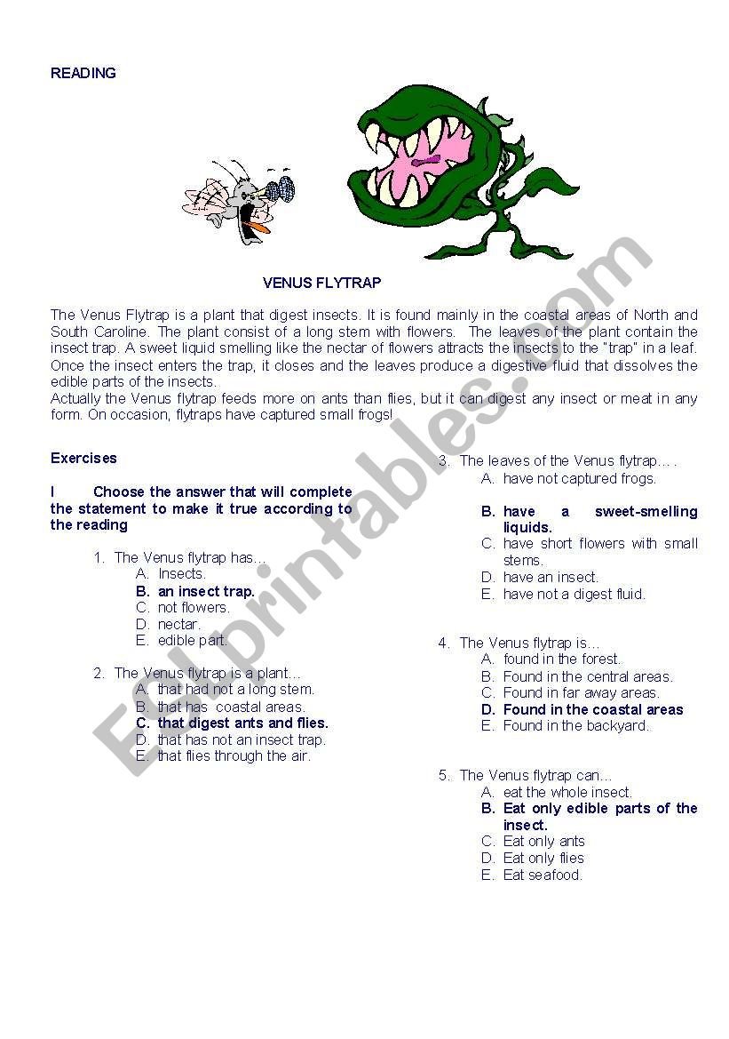 READING  THE VENUS FLYTRAP worksheet
