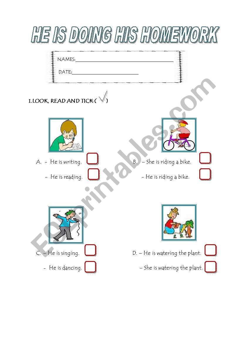 EXERCISES ABOUT  PRESENT CONTINUOUS TENSE