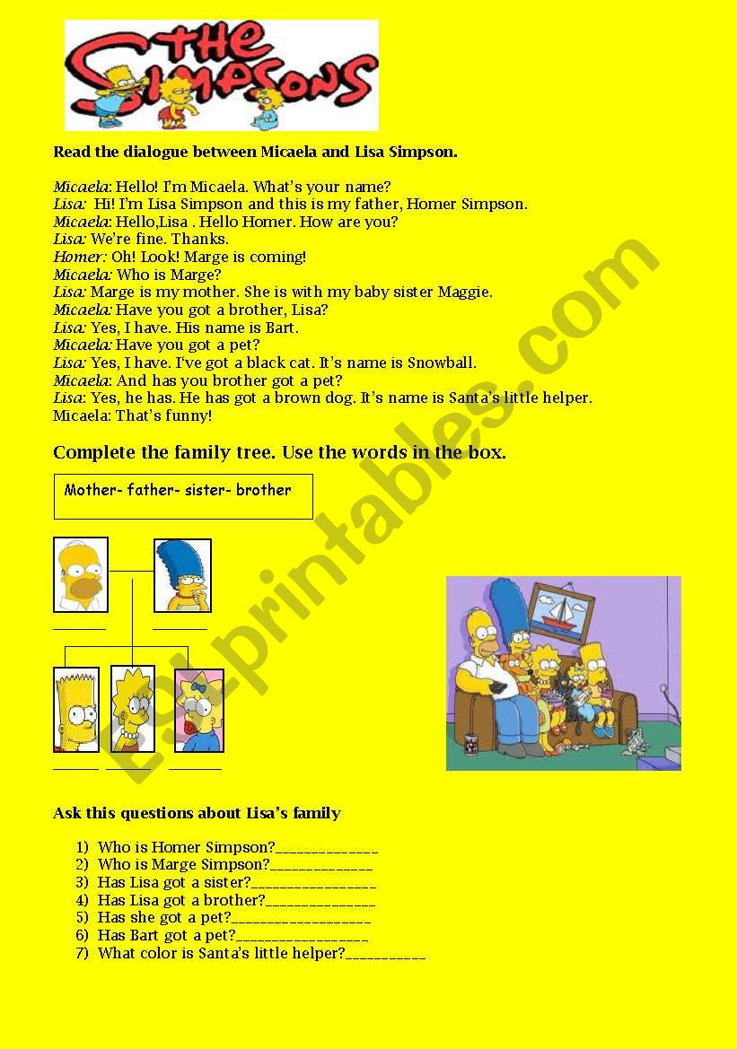 - The Simpsons : Reading Comprehension Activities - ESL Worksheet By
