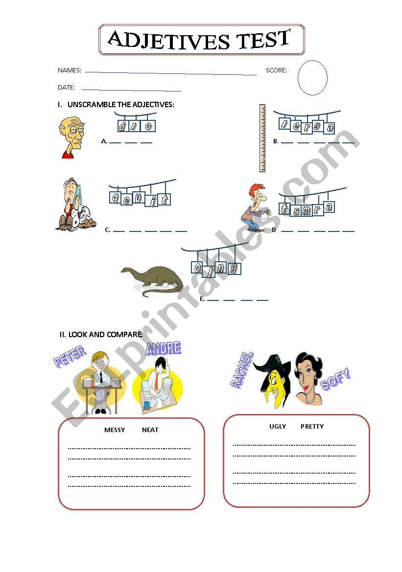 TEST ABOUT  ADJECTIVES - COMPARATIVE ADJECTIVES