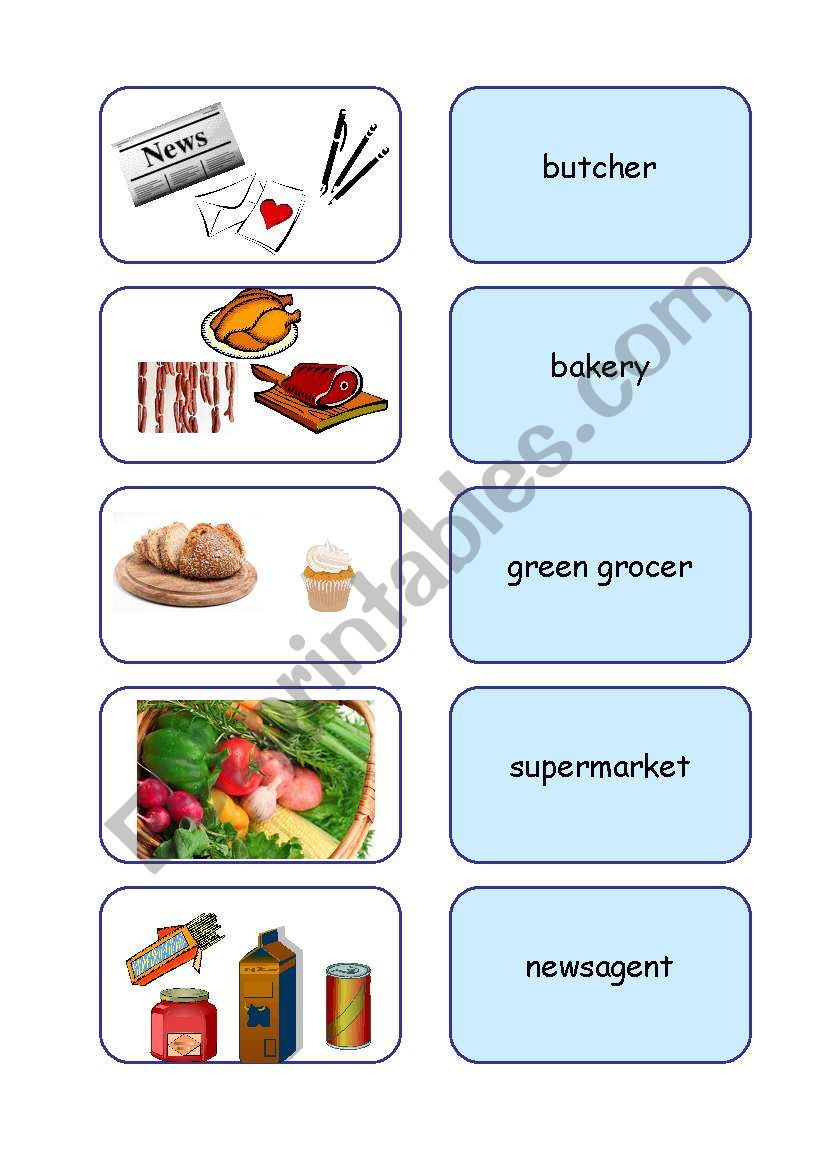 Types of shops worksheet