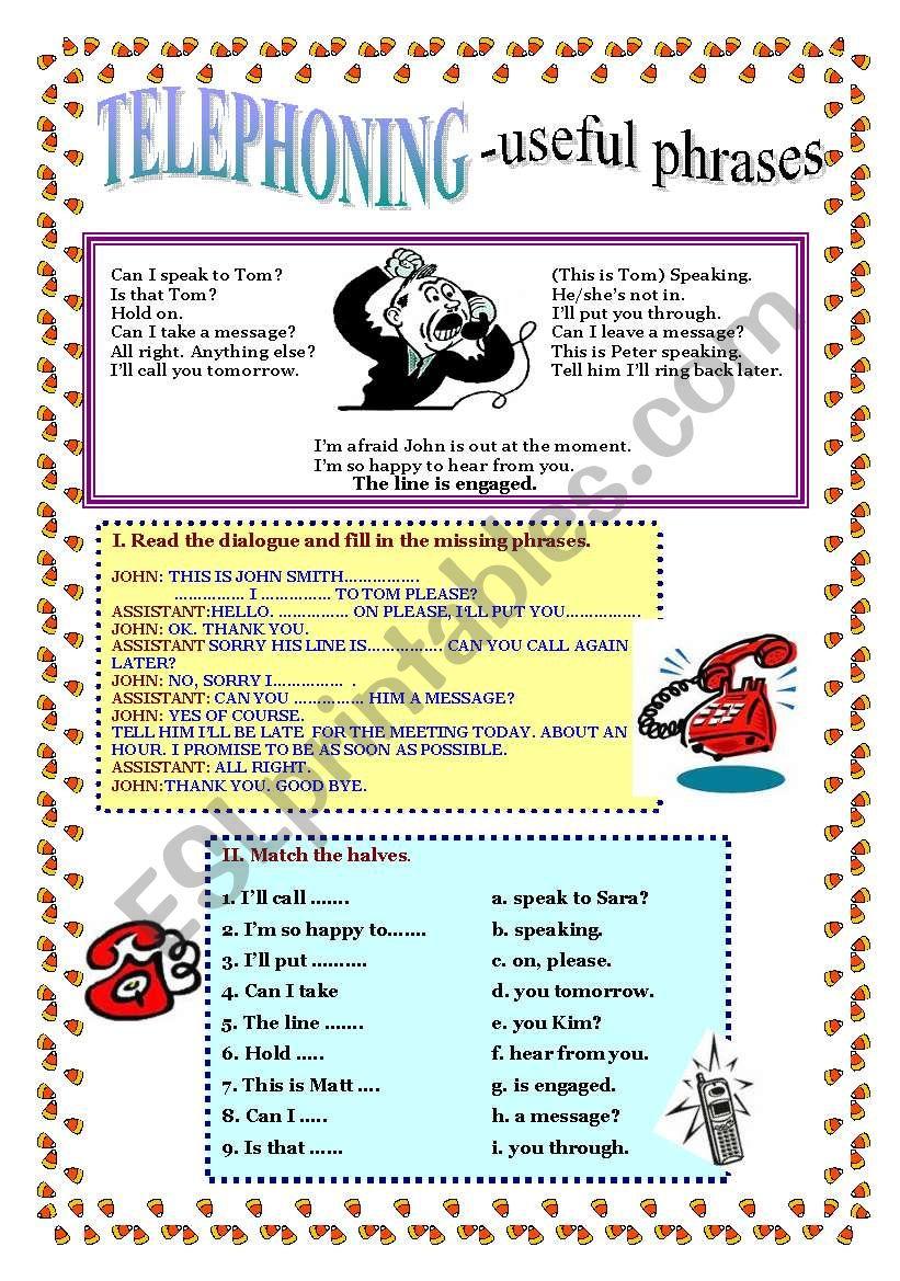 TELEPHONING - useful phrases worksheet