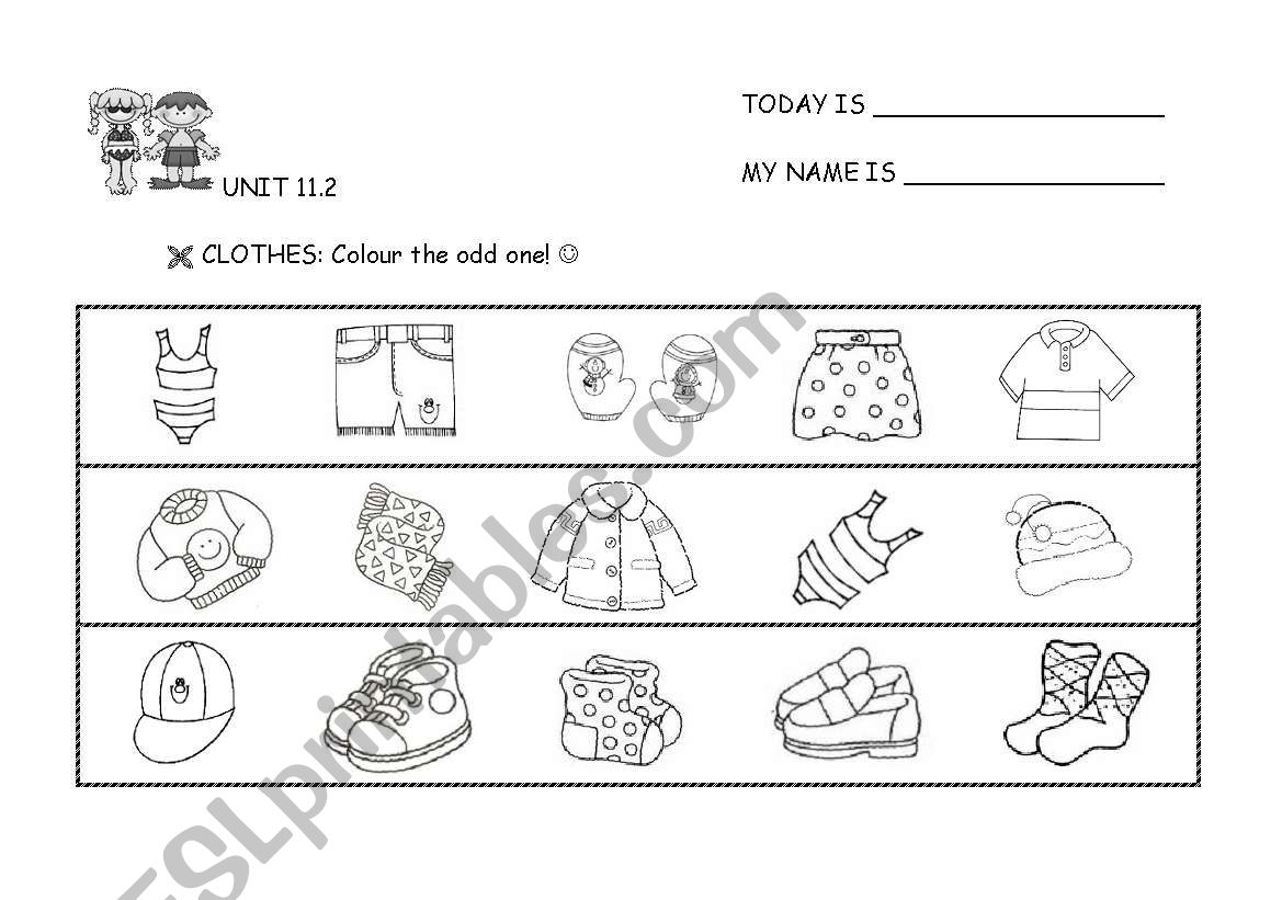 CLOTHES: Odd one out! worksheet