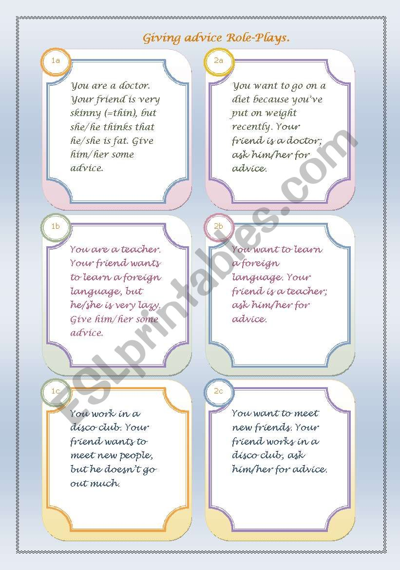 Giving advice Role-Plays worksheet
