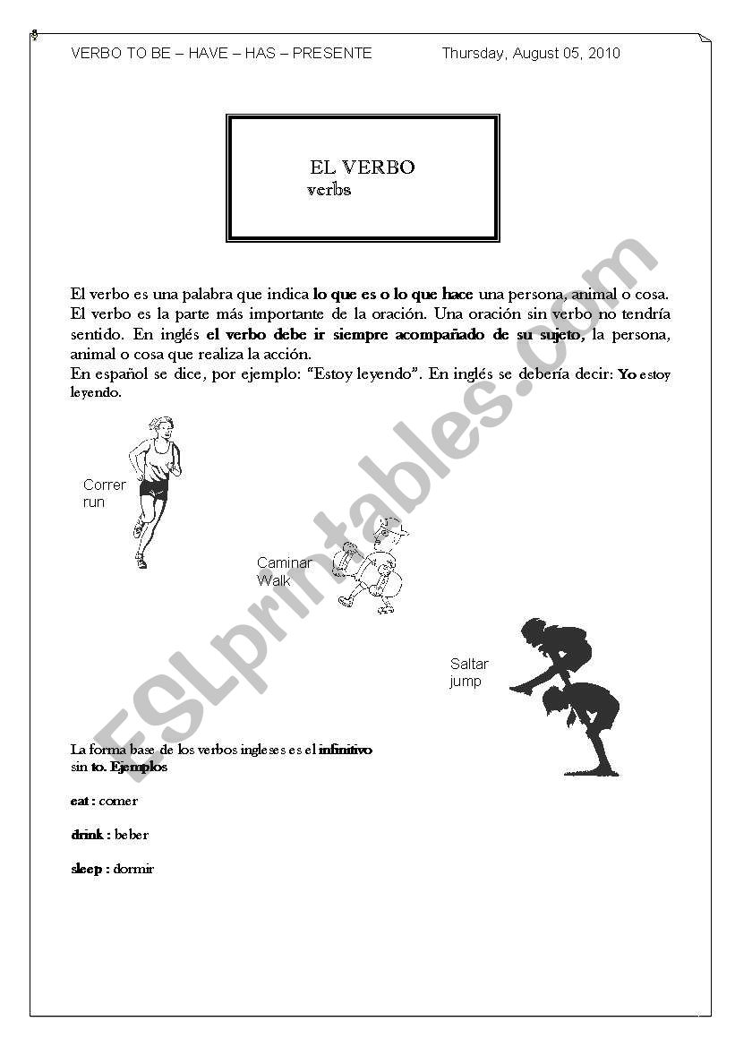 English worksheets: the verb to be - presente simple