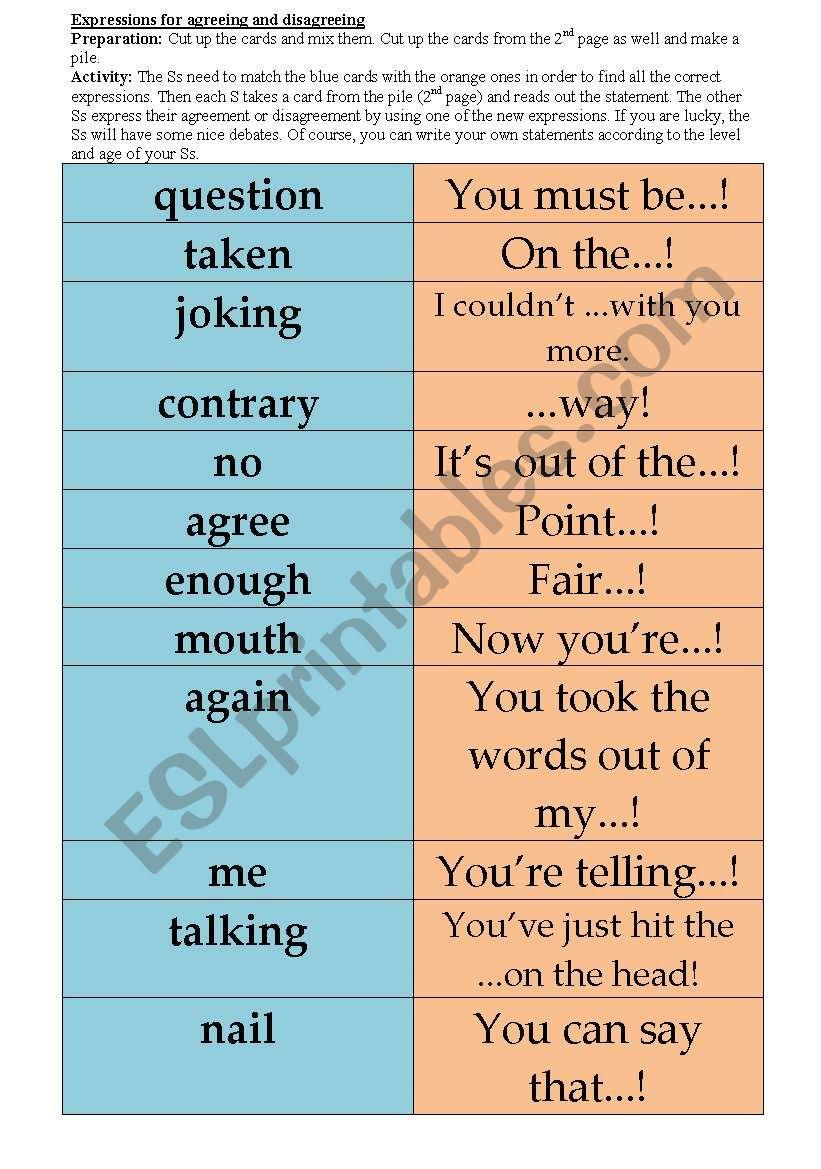 Agreeing/disagreeing - ESL worksheet by szilagyiannari
