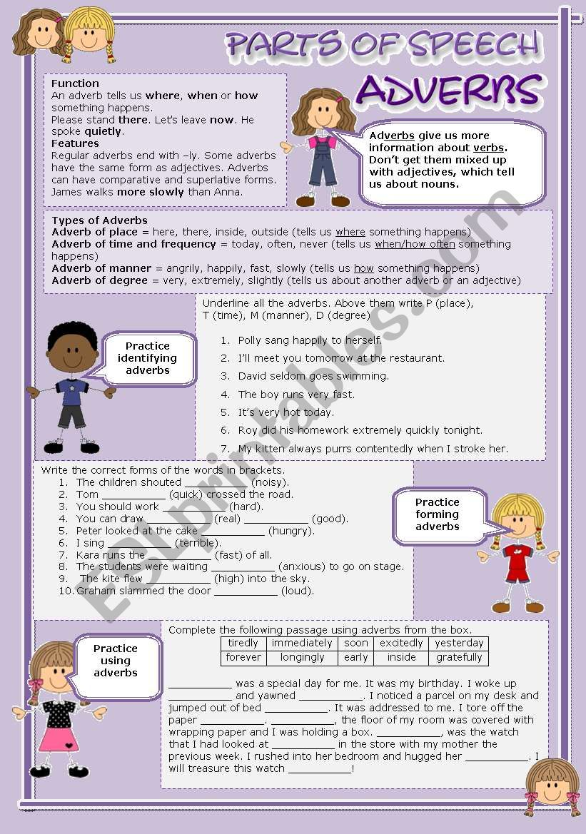 Parts of speech (4) - Adverbs (fully editable)