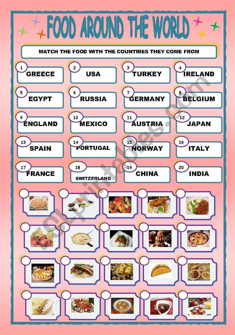 FOOD AROUND THE WORLD/MATCHING
