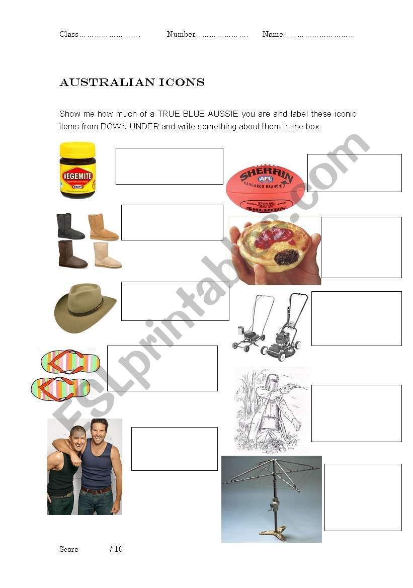 English worksheets: Australian Icons