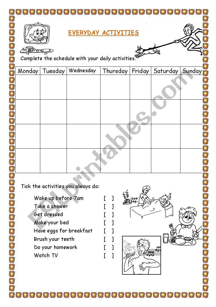 EVERYDAY ACTIVITIES worksheet
