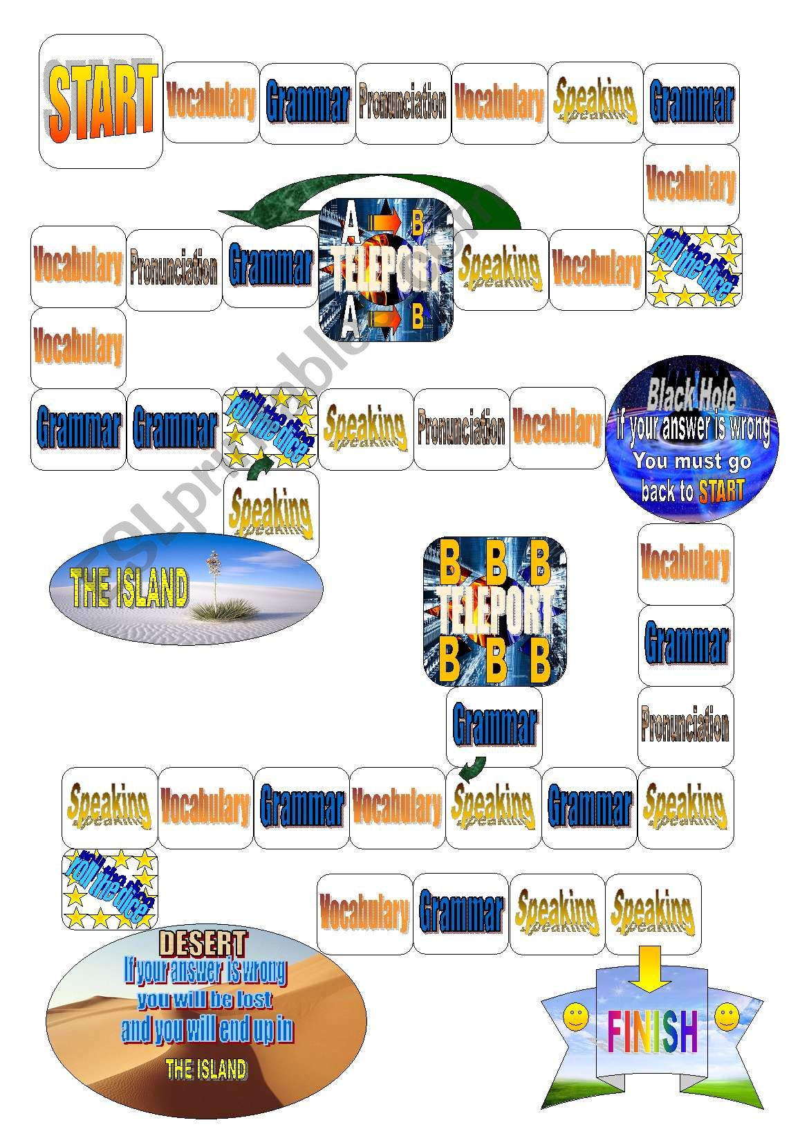 Funtastic English Board Game worksheet