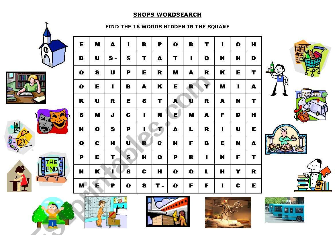 SHOPS WORDSEARCH worksheet