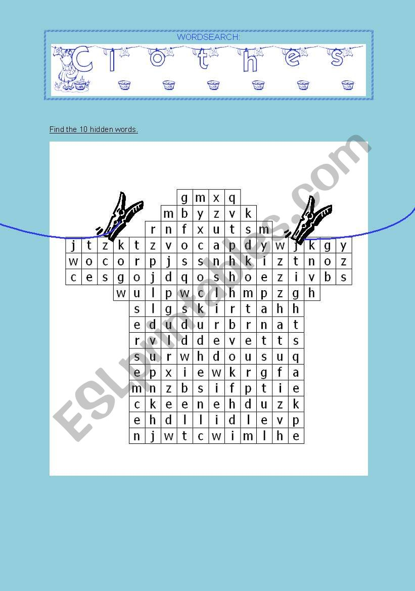 Wordsearch Clothes worksheet