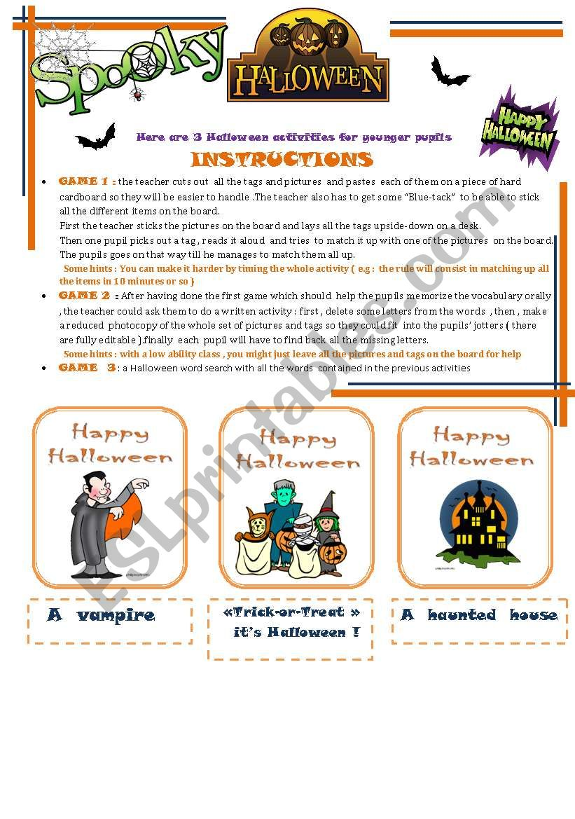 halloween activities worksheet