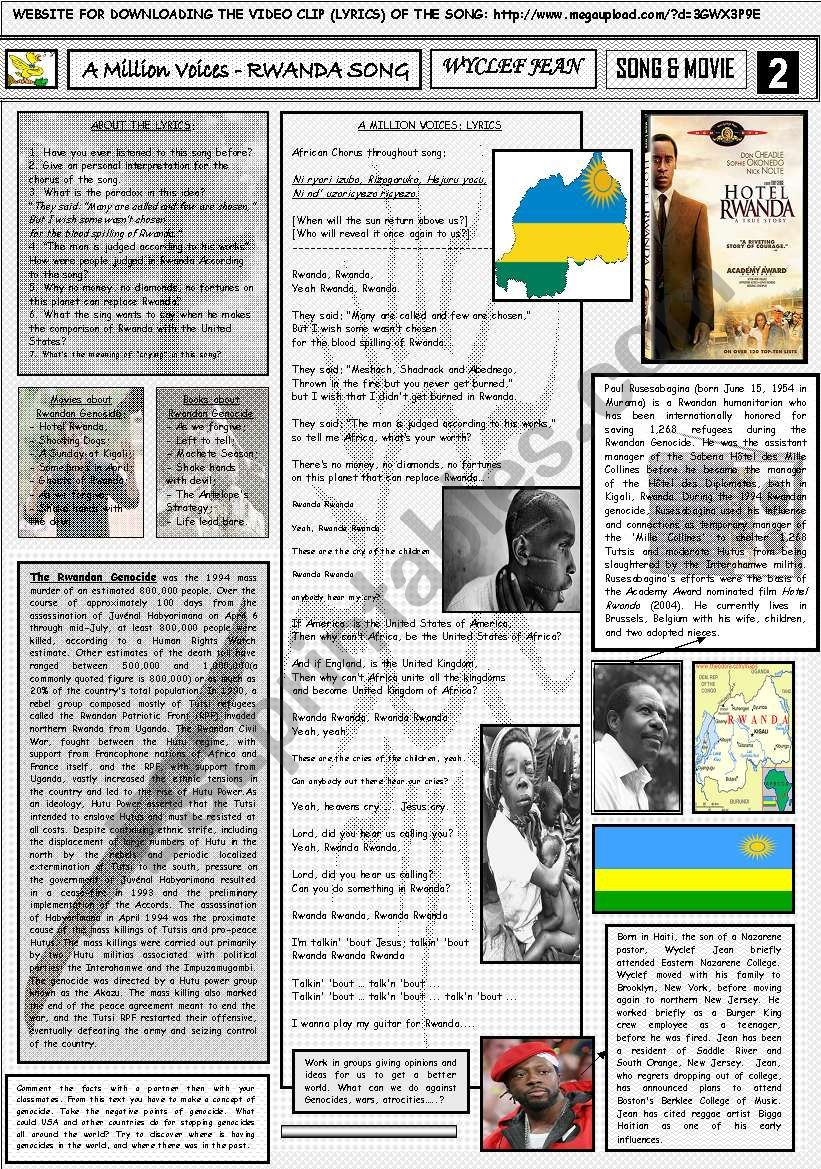 A MILLION VOICES(RWANDA SONG) - WYCLEF JEAN - PART 02(SONG) - FULLY EDITABLE AND CORRECTABLE