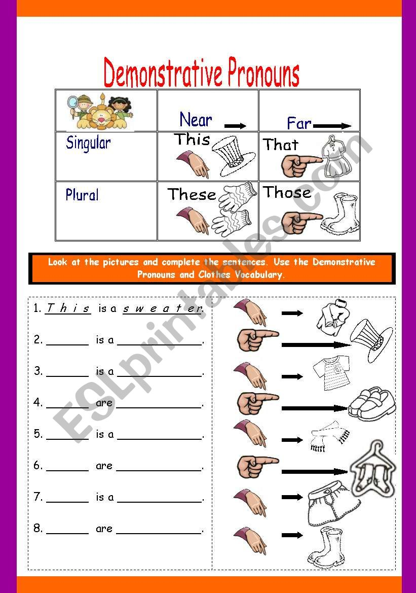 DEMONSTRATIVE PRONOUNS WITH CLOTHES - ESL worksheet by fortina23 Within Demonstrative Adjectives Spanish Worksheet
