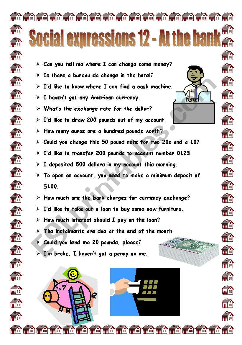 Social expressions 12 - at the bank