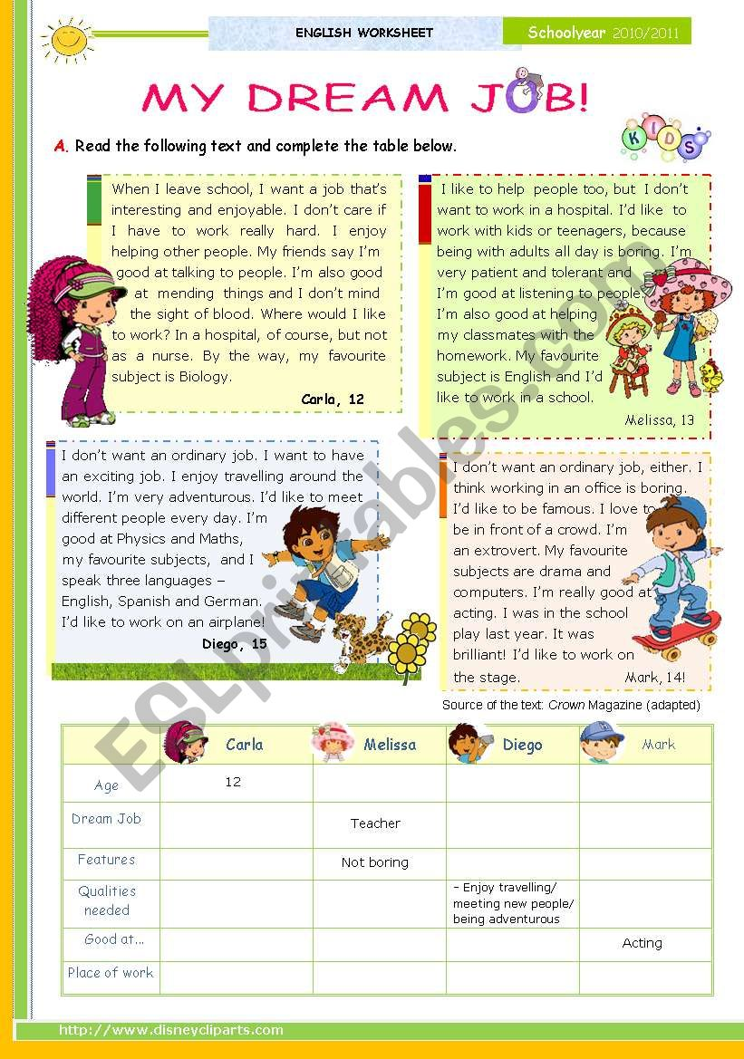 My Dream Job - Reading leading to Writing series  for Upper elementary students   (1st 45 minute-lesson)