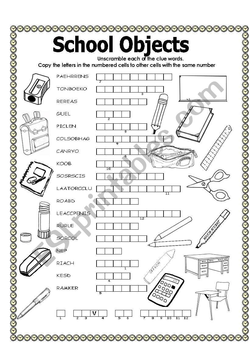 Double puzzle (school objects)