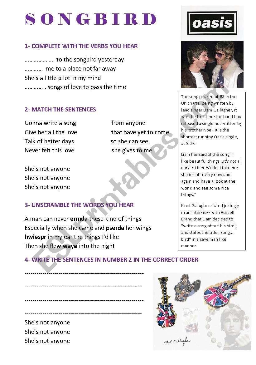 OASIS SONGBIRD SONG worksheet