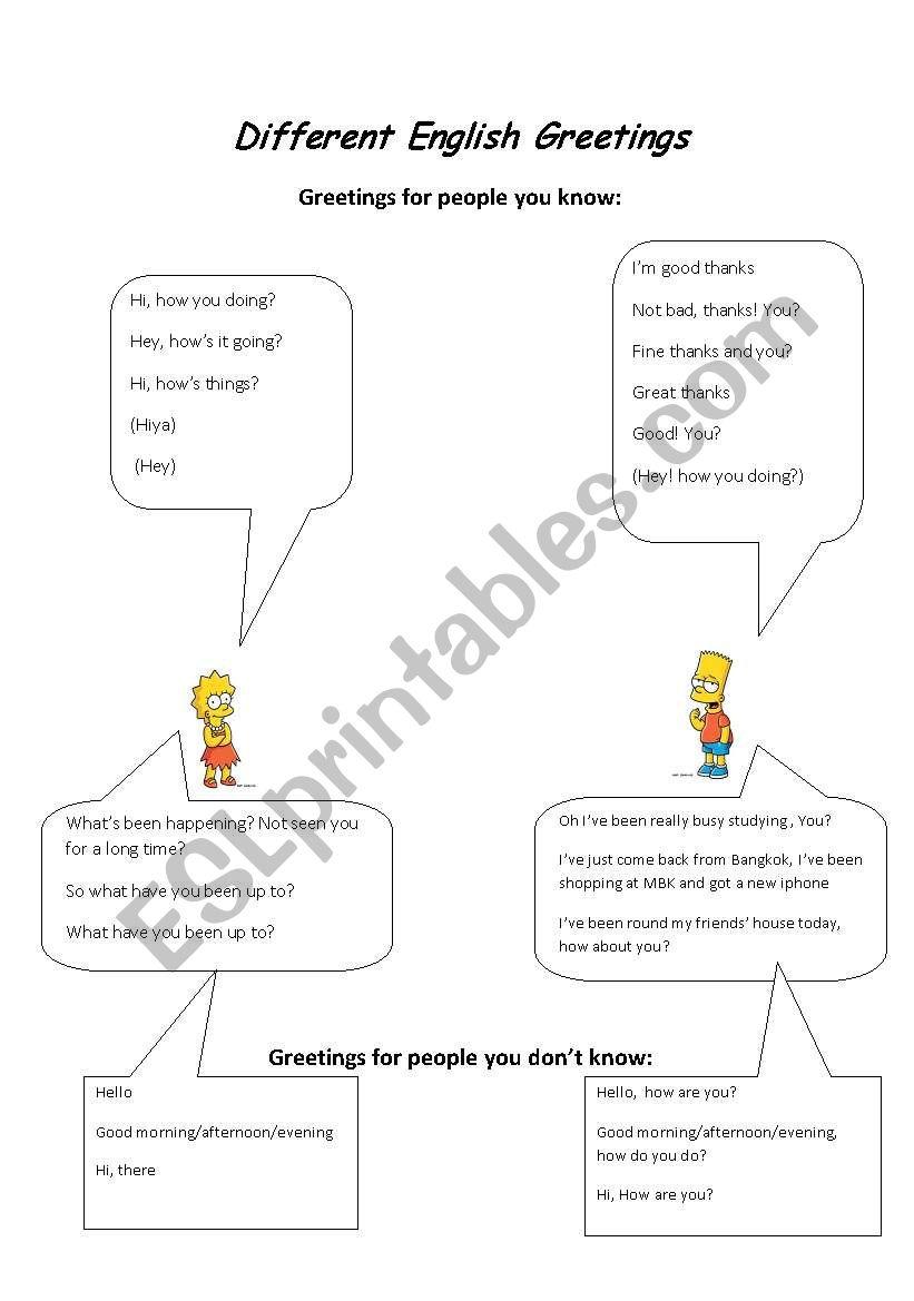 Different English Greetings worksheet