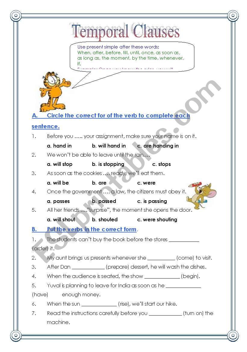 Temporal Clauses worksheet
