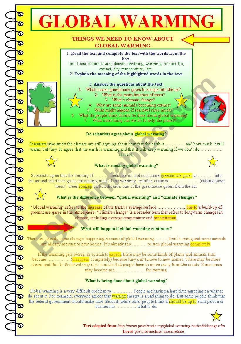 Global Warming Esl Worksheet By Kate Kkcat