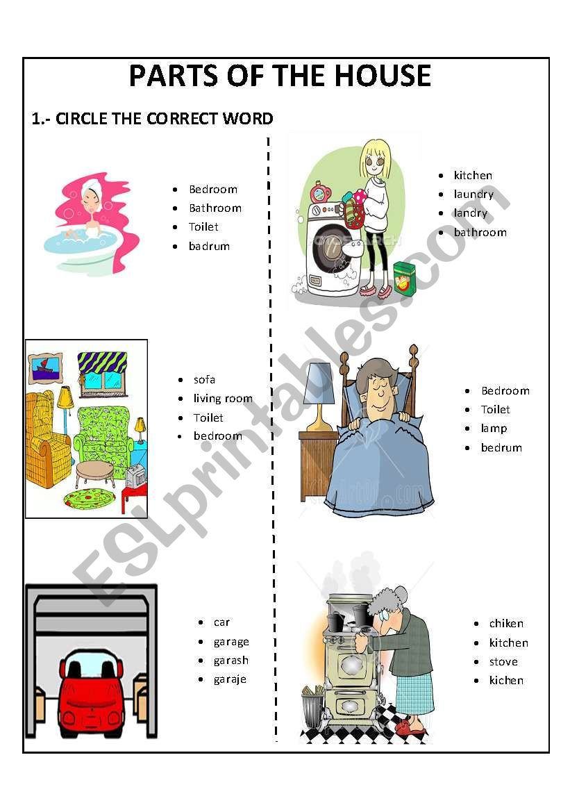 PARTS OF THE HOUSE - ESL worksheet by lovely15