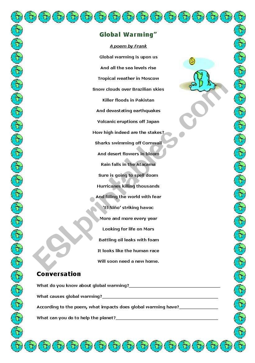 Global Warming Esl Worksheet By Mary Butterfly