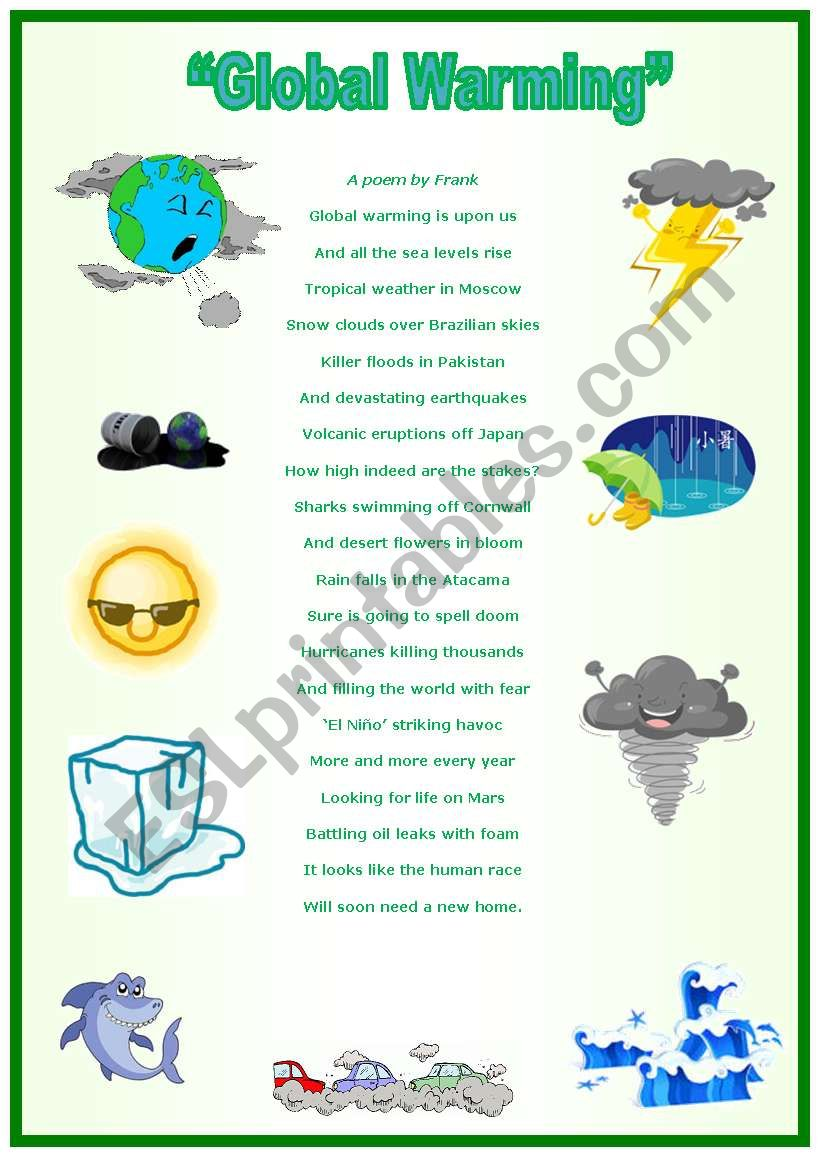 Global warming (a poem by Frank)  with activities