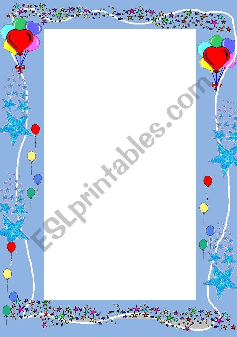 Baloons worksheet